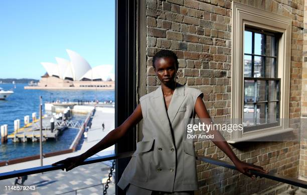 Model Akima attends the Mercedes-Benz Presents Aje show at Mercedes-Benz Fashion Week Resort 20 Collections at Campbell's Stores on May 12, 2019 in...