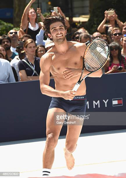 Model Akin Akman attends the Tommy Hilfiger And Rafael Nadal Launch Global Brand Ambassadorship at Bryant Park on August 25 2015 in New York City