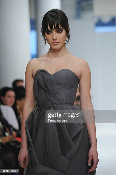 Model Alaia Baldwin seen walking down the runway during the Leanne Marshall fashion show at Helen Mills Event Space on February 9 2014 in New York...