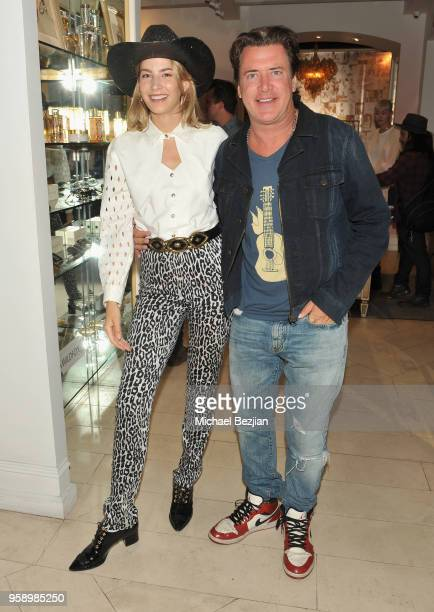 Model Alana Greszata and CEO of Wildfox Jimmy Sommers attend the Wildfox American Honey Launch at the Wildfox Flagship Store on May 15 2018 in West...
