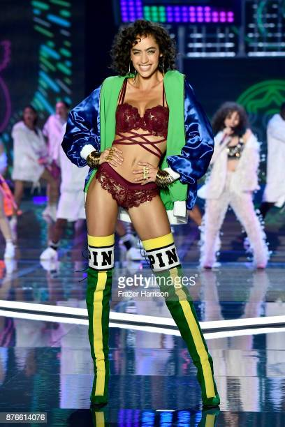 Model Alanna Arington walks the runway during the 2017 Victoria's Secret Fashion Show In Shanghai at MercedesBenz Arena on November 20 2017 in...