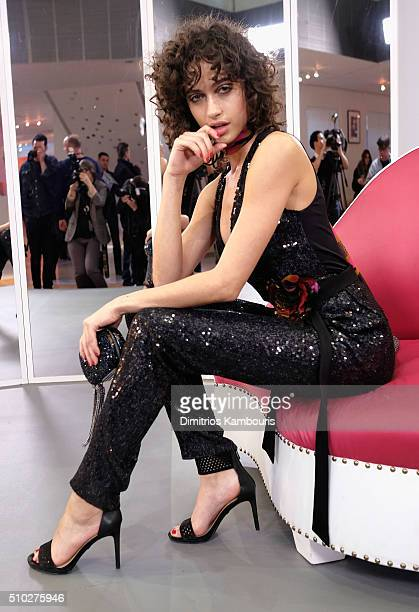 Model Alanna Arrington is seen wearing Diane Von Furstenberg Fall 2016 during New York Fashion Week on February 14 2016 in New York City