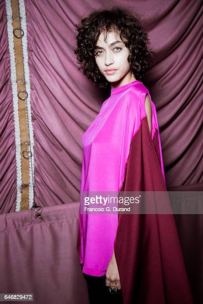 Model Alanna Arrington poses backstage before the Koche show as part of the Paris Fashion Week Womenswear Fall/Winter 2017/2018 on February 28 2017...