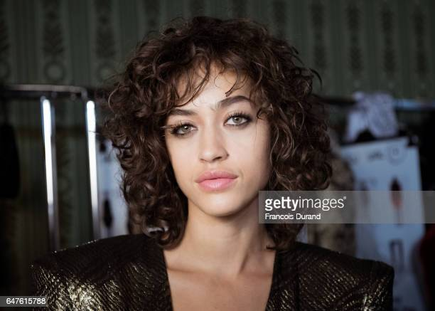 Model Alanna Arrington poses backstage before the Redemption show as part of the Paris Fashion Week Womenswear Fall/Winter 2017/2018 on March 3 2017...