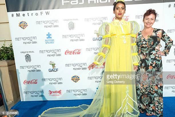 Model Alanni Garnet and Designer Paula Galluci arrive at the Metropolitan Fashion Week 2016 Closing Gala And Fashion Awards at Warner Bros Studios on...