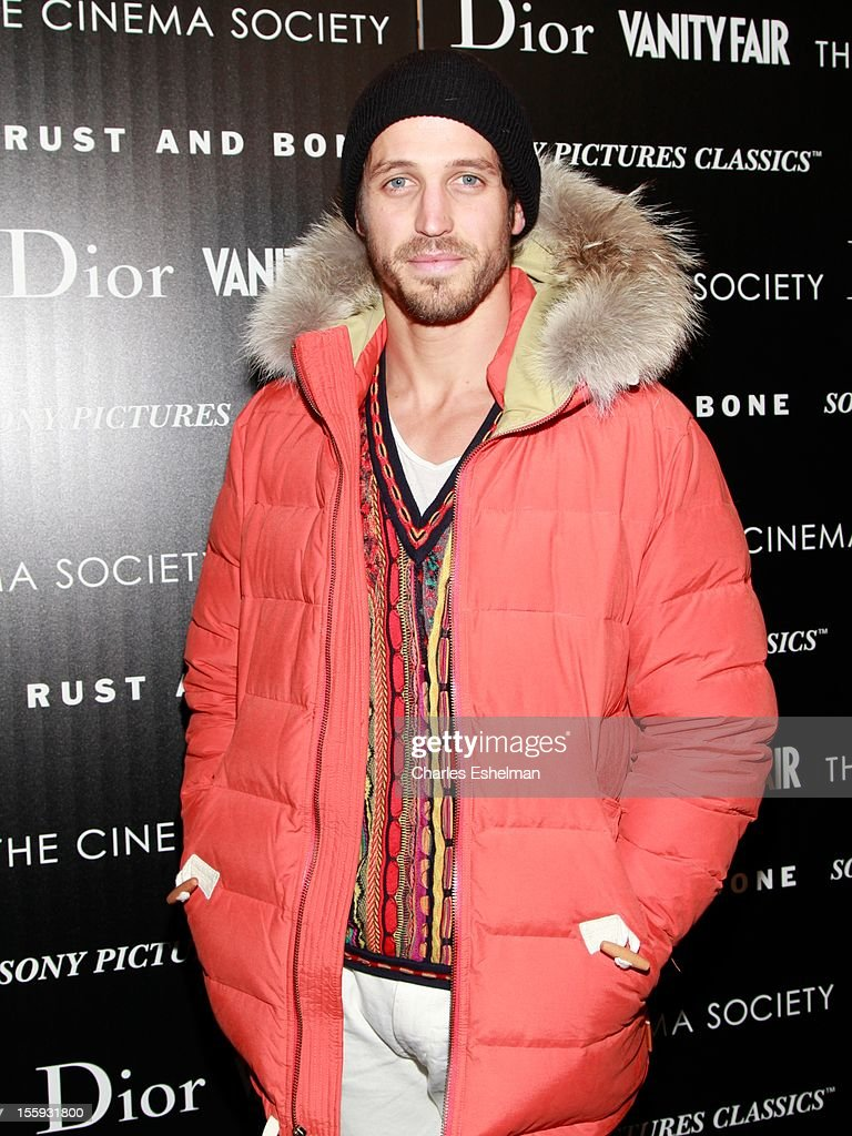 Model Albert Reed attends The Cinema Society with Dior & Vanity Fair host a screening of 'Rust and Bone' at Landmark Sunshine Cinema on November 8, 2012 in New York City.