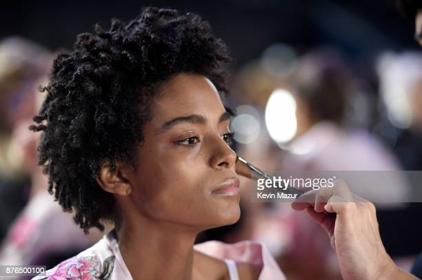 Model Alecia Morais poses backstage during 2017 Victoria's Secret Fashion Show In Shanghai at MercedesBenz Arena on November 20 2017 in Shanghai China
