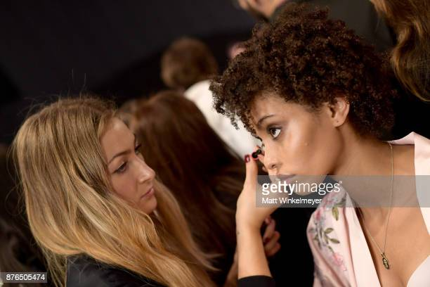 Model Alecia Morais prepares during 2017 Victoria's Secret Fashion Show In Shanghai at MercedesBenz Arena on November 20 2017 in Shanghai China