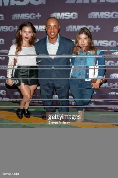 Model Alejandra Cata former Knick John Starks and model Eleni Tsavousis attends the 2013 2014 NHL NBA Season Kick Off MSG Networks' Celebration at...
