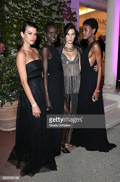 Model Alek Wek and Bella Hadid during the 'De Grisogono' Party at the annual 69th Cannes Film Festival at Hotel du CapEdenRoc on May 17 2016 in Cap...