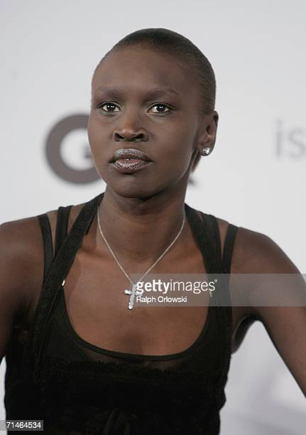 Model Alek Wek attends a press conference prior the GQ Ispovision Syle Night on July 17, 2006 in Munich, Germany.