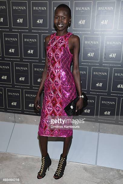 Model Alek Wek attends the BALMAIN X HM Collection Launch at 23 Wall Street on October 20 2015 in New York City