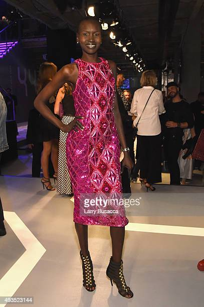 Model Alek Wek attends the BALMAIN X H&M Collection Launch at 23 Wall Street on October 20, 2015 in New York City.