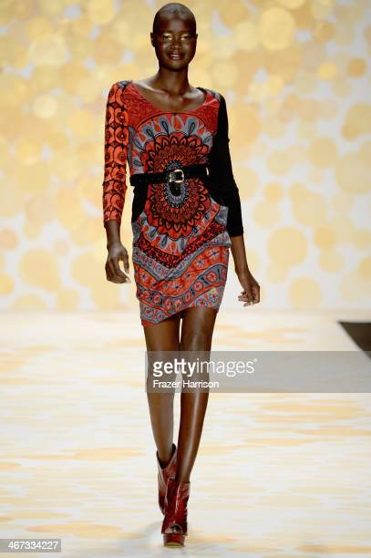 Model Alek Wek walks the runway at Desigual fashion show during MercedesBenz Fashion Week Fall 2014 at The Theatre at Lincoln Center on February 6...