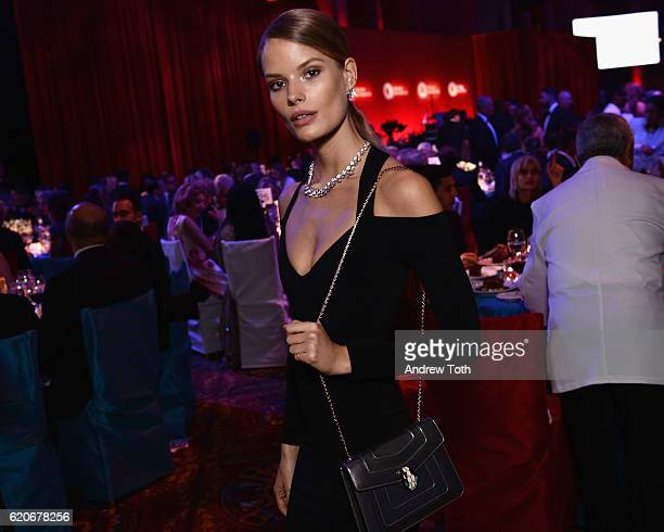 Model Alena Blohm wears Bulgari to the Elton John AIDS Foundation's 15th Annual An Enduring Vison Benefit At Cipriani Wall Street at Cipriani Wall...