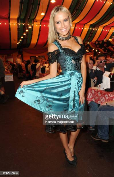 Model Alena Gerber attends the 'Charity Wiesn' as part of the Oktoberfest beer festival at Hippodrom beer tent on September 25 2011 in Munich Germany
