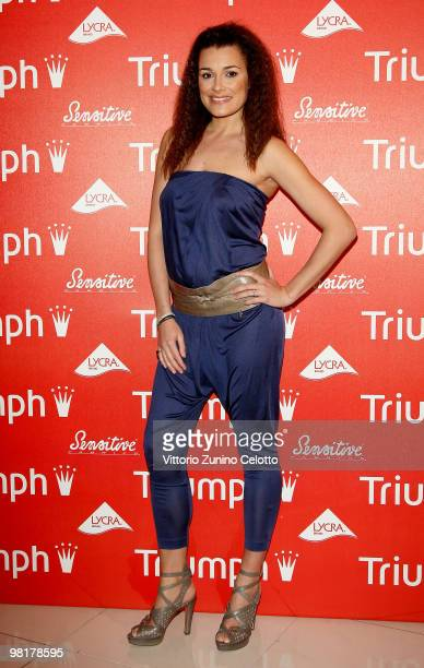 Model Alena Seredova attends the launch of the new Triumph advertising campaign held at Visionnaire Design Gallery on March 31, 2010 in Milan, Italy.