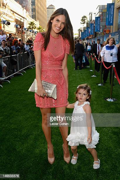 Model Alessandra Ambrosio and Anja Louise Ambrosio Mazur arrive at Disney Pixar's Brave World Premiere at Dolby Theatre on June 18 2012 in Hollywood...