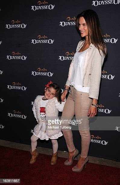 Model Alessandra Ambrosio and daughter Anja attend the opening night of Cavalia's 'Odysseo' equestrian show at Cavalia's Odysseo Village on February...