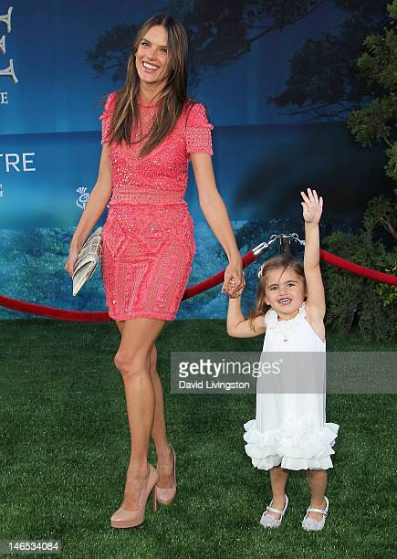 Model Alessandra Ambrosio and daughter Anja Louise Ambrosio Mazur attend Film Independent's 2012 Los Angeles Film Festival premiere of Disney Pixar's...