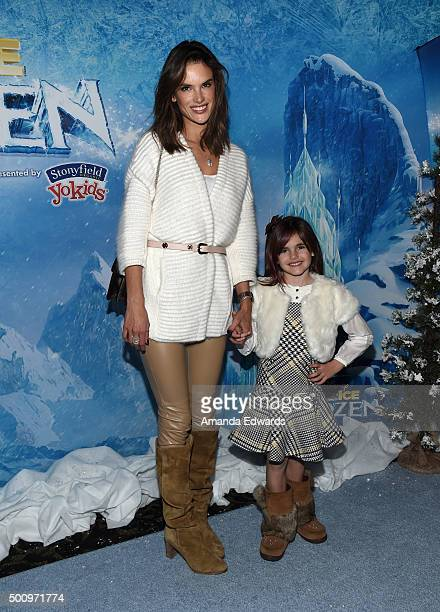 """Model Alessandra Ambrosio and her daughter Anja Mazur arrive at the premiere of Disney On Ice's """"Frozen"""" at Staples Center on December 10, 2015 in..."""