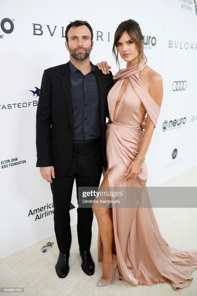 Model Alessandra Ambrosio (R) and Jamie Mazur attend the 25th Annual Elton John AIDS Foundation's Academy Awards Viewing Party at The City of West Hollywood Park on February 26, 2017 in West Hollywood, California.