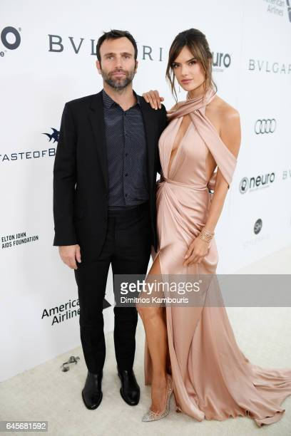 Model Alessandra Ambrosio and Jamie Mazur attend the 25th Annual Elton John AIDS Foundation's Academy Awards Viewing Party at The City of West...