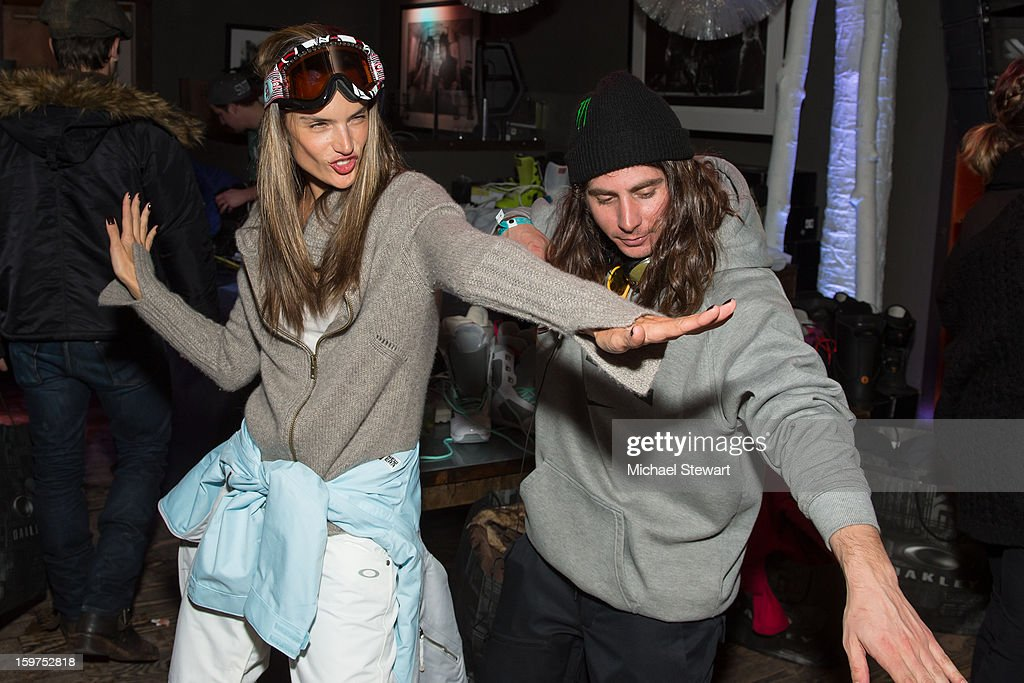 Model Alessandra Ambrosio (L) and snowboarder Danny Kass attend Oakley Learn To Ride In Collaboration With New Era on January 19, 2013 in Park City, Utah.