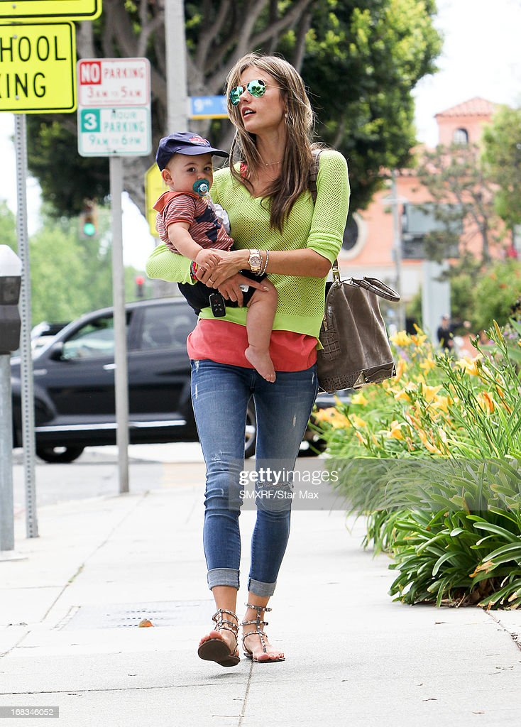 Model Alessandra Ambrosio and son, Noah Ambrosio Mazur as seen on May 8, 2013 in Los Angeles, California.
