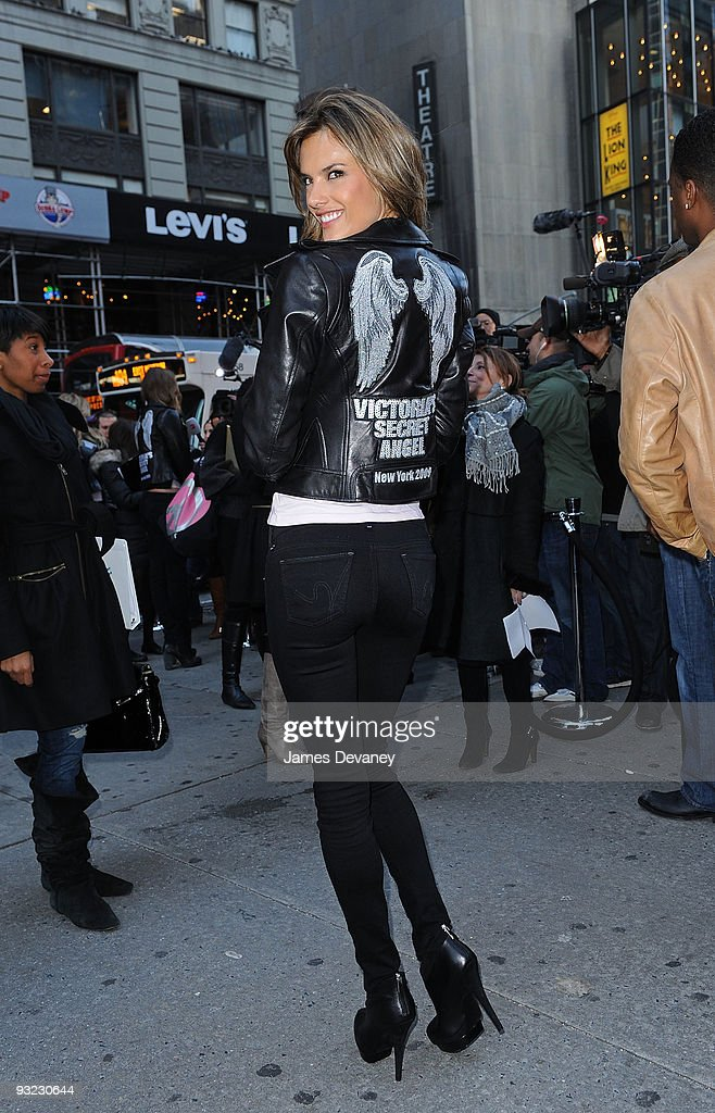 Model Alessandra Ambrosio and Victoria's Secret Supermodels take over Military Island, Times Square on November 18, 2009 in New York City.