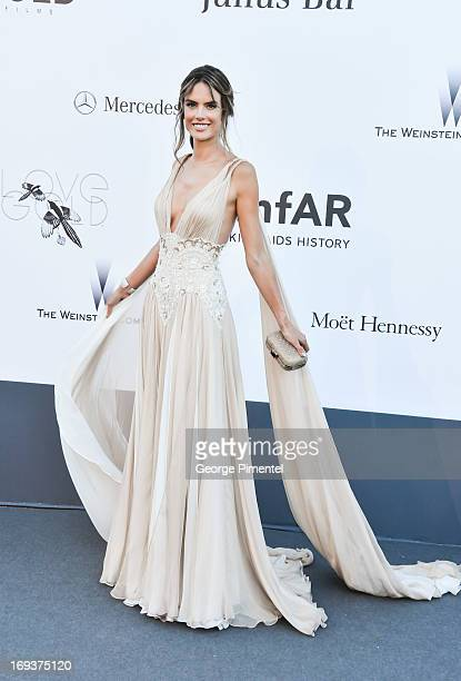 Model Alessandra Ambrosio arrives at amfAR's 20th Annual Cinema Against AIDS at Hotel du CapEdenRoc on May 23 2013 in Cap d'Antibes France