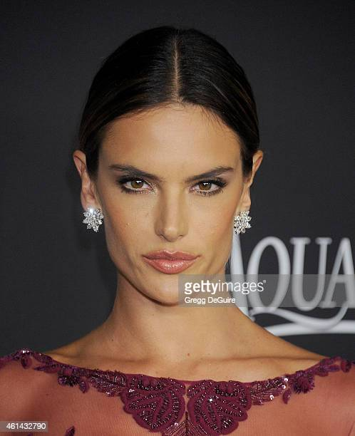 Model Alessandra Ambrosio arrives at the 16th Annual Warner Bros. And InStyle Post-Golden Globe Party at The Beverly Hilton Hotel on January 11, 2015...