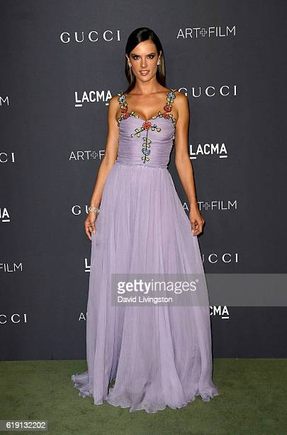 Model Alessandra Ambrosio arrives at the 2016 LACMA Art Film Gala honoring Robert Irwin and Kathryn Bigelow presented by Gucci at LACMA on October 29...