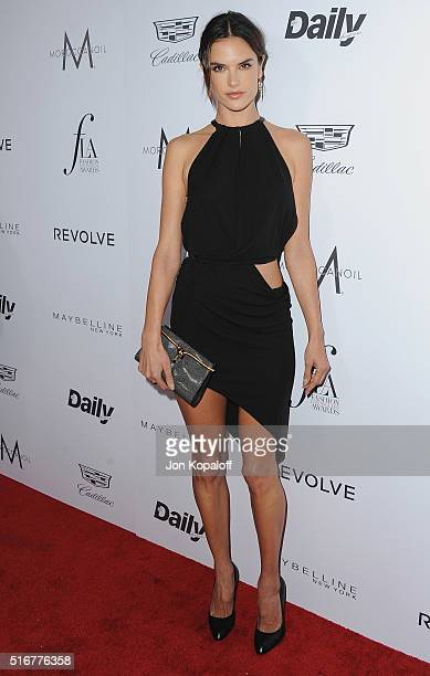 Model Alessandra Ambrosio arrives at The Daily Front Row 'Fashion Los Angeles Awards' 2016 at Sunset Tower Hotel on March 20 2016 in West Hollywood...