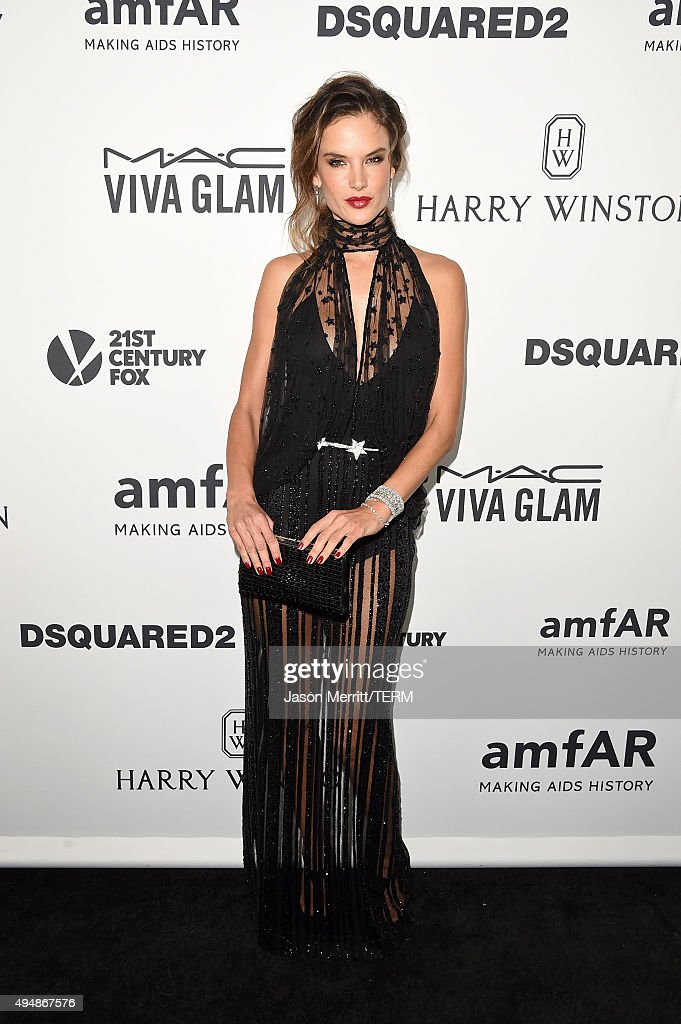 Model Alessandra Ambrosio attends amfAR's Inspiration Gala Los Angeles at Milk Studios on October 29, 2015 in Hollywood, California.
