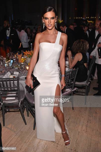 Model Alessandra Ambrosio attends as Moet Chandon Toasts to the amfAR New York Gala At Cipriani Wall Street at Cipriani Wall Street on February 8...