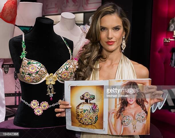 Model Alessandra Ambrosio attends the 2012 Victoria's Secret Fantasy Bra Reveal at Victoria's Secret Herald Square on October 18 2012 in New York City