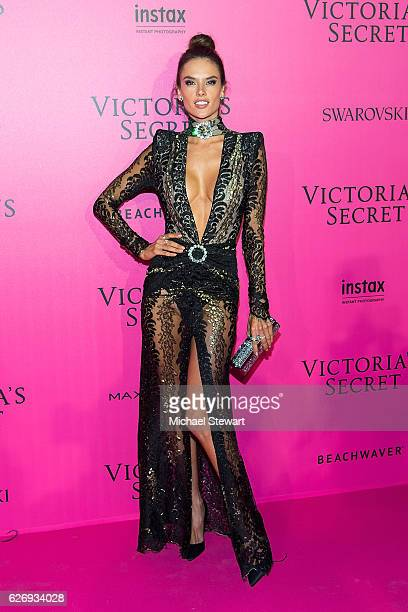 Model Alessandra Ambrosio attends the 2016 Victoria's Secret Fashion Show after party at Le Grand Palais on November 30 2016 in Paris France
