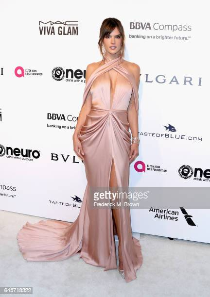 Model Alessandra Ambrosio attends the 25th Annual Elton John AIDS Foundation's Academy Awards Viewing Party at The City of West Hollywood Park on...