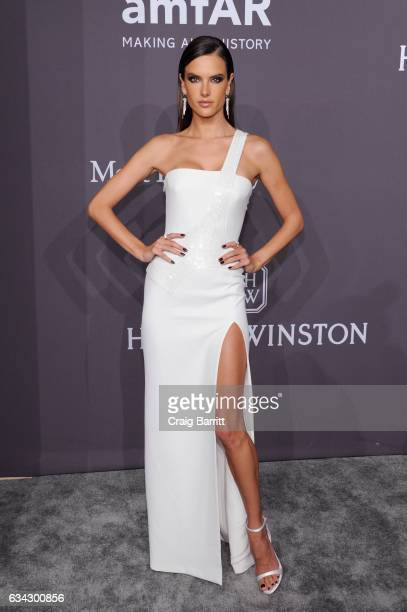 Model Alessandra Ambrosio attends the amfAR New York Gala 2017 sponsored by FIJI Water at Cipriani Wall Street on February 8 2017 in New York City