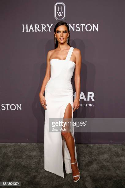 Model Alessandra Ambrosio attends the amfAR New York Gala where Harry Winston is a Presenting Sponsor at Cipriani Wall Street on February 8 2017 in...