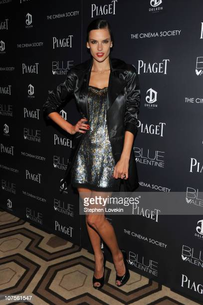 Model Alessandra Ambrosio attends the Cinema Society Piaget screening of 'Blue Valentine' at theTribeca Grand Hotel on December 13 2010 in New York...