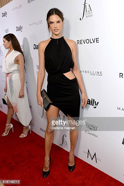 Model Alessandra Ambrosio attends The Daily Front Row Fashion Los Angeles Awards 2016 at Sunset Tower Hotel on March 20 2016 in West Hollywood...