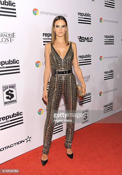 Model Alessandra Ambrosio attends the Republic Records Grammy Celebration presented by Chromecast Audio at Hyde Sunset Kitchen Cocktail on February...
