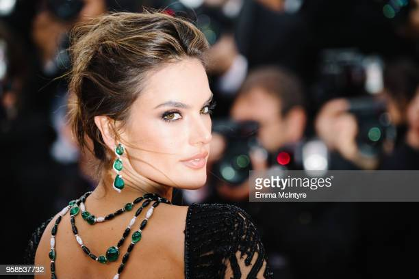 Model Alessandra Ambrosio attends the screening of 'BlacKkKlansman' during the 71st annual Cannes Film Festival at Palais des Festivals on May 14...