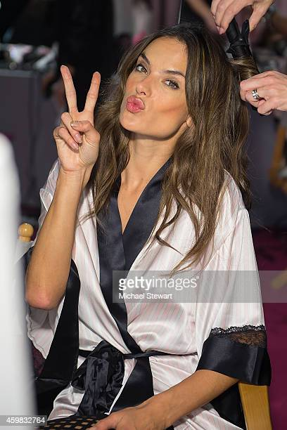 Model Alessandra Ambrosio backstage at the annual Victoria's Secret fashion show at Earls Court on December 2 2014 in London England
