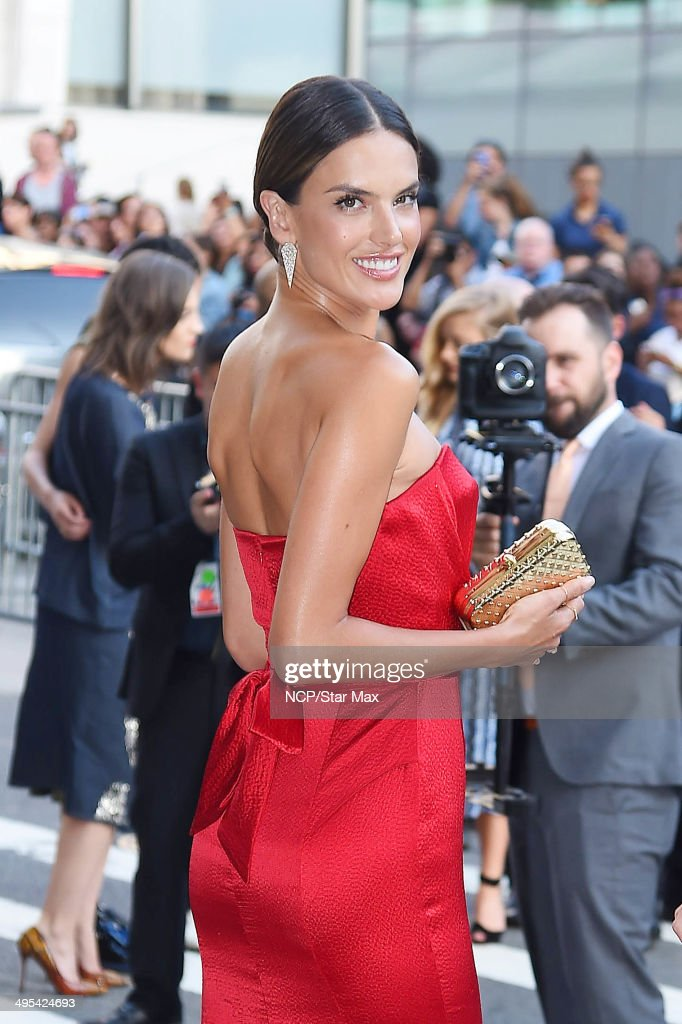 Model Alessandra Ambrosio is seen arriving at The 2014 CFDA Fashion Awards on June 2, 2014 in New York City.