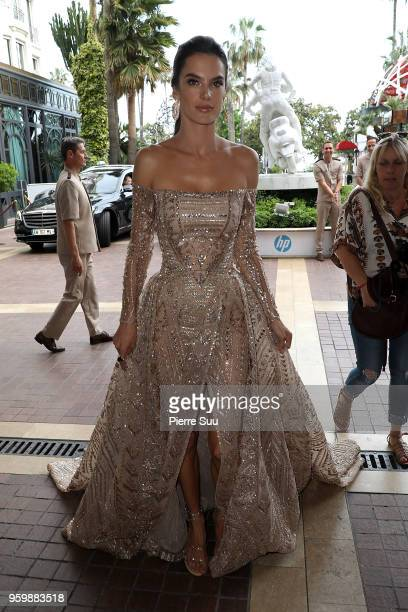 Model Alessandra Ambrosio is seen at 'Le Majestic' hotel during the 71st annual Cannes Film Festival at on May 18 2018 in Cannes France