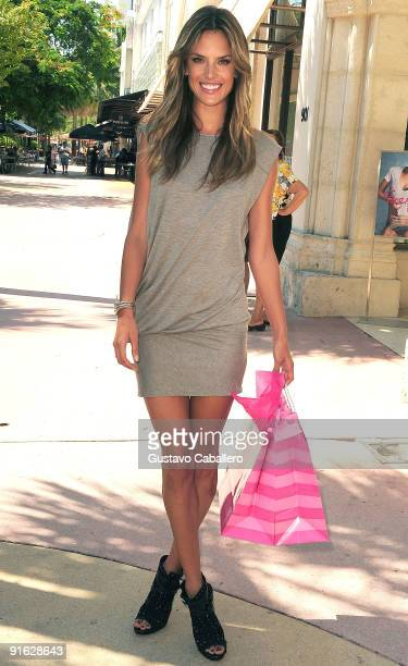 Model Alessandra Ambrosio poses at the Victoria's Secret store on Lincoln Road on October 8, 2009 in Miami, Florida.