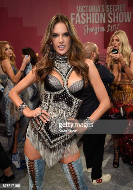 Model Alessandra Ambrosio poses backstage during 2017 Victoria's Secret Fashion Show In Shanghai at MercedesBenz Arena on November 20 2017 in...